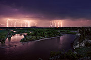 Shower Posters - Yellowstone River Lightning Poster by Leland Howard