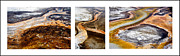 Earth Tone Framed Prints - Yellowstone Triptych Framed Print by Geraldine Alexander