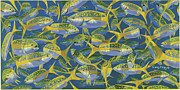 Blue Marlin Paintings - Yellowtail Frenzy In0023 by Carey Chen