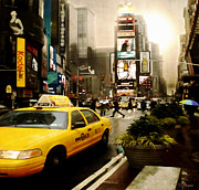 Ym_art Posters - Yelow Cab at Time Square New York Poster by Yvon -aka- Yanieck  Mariani