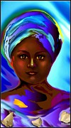 Spiritual Portrait Of Woman Posters - Yemaya -The Mother Goddess Poster by Carmen Cordova