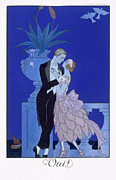 Evening Dress Painting Framed Prints - Yes Framed Print by Georges Barbier
