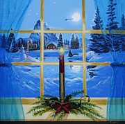 Cabin Window Painting Framed Prints - Yes Virginia...There is a Santa Claus Framed Print by Tom Hoy