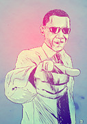 Obama Drawings Prints - Yes You Can Print by Giuseppe Cristiano