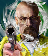 Television Painting Posters - Yesterday Is Gone And Walter White Is Breaking Bad  Poster by Reggie Duffie