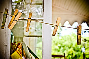 Clothes Pins Photos - Yesterdays Chores by Colleen Kammerer
