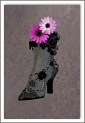 Purple Lace Shoes Posters - Yesterdays Slipper ... Todays Blooms Poster by Ron Pniewski