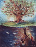 Myth Pastels Prints - Yggdrasil - the Last Refuge Print by Samantha Geernaert