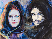 Game Mixed Media Metal Prints - Ygritte Jon Snow Metal Print by Slaveika Aladjova