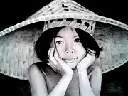 Thai Drawings - Yim Noi by Steven Beattie