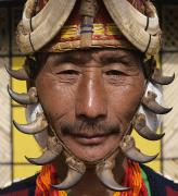 Indigenous Culture Photos - Yimchungru Tribesman During Hornbill by Jeremy Hunter
