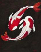 Koi Fish Painting Posters - Yin and Yang Poster by Darice Machel McGuire