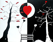 Silhouettes Painting Prints - Yin and Yang of Love Print by JoNeL  Art