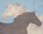 Mustang Paintings - Yin Yang by Carol Jensen and Buggs The Equine Artist
