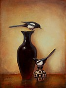 Magpies Paintings - Yin Yang - Magpies  by Lori  McNee