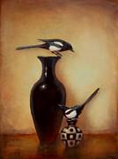Yin Yang - Magpies  Print by Lori  McNee