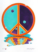 Puddle Mixed Media Posters - Yin Yang Peace Sign Poster by R Neville Johnston