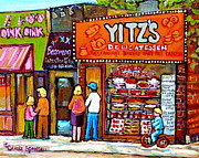 Toy Store Painting Framed Prints - Yitzs Deli Toronto Restaurants Cafe Scenes Paintings Of Toronto Landmark City Scenes Carole Spandau  Framed Print by Carole Spandau