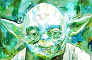 Wars Painting Metal Prints - Yoda Watercolor Portrait Metal Print by Fabrizio Cassetta