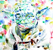 Yoda Framed Prints - YODA watercolor portrait.1 Framed Print by Fabrizio Cassetta