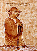 Jedi Painting Posters - Yoda Wisdom original coffee painting Poster by Georgeta Blanaru