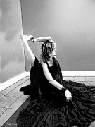 Yoga Images Prints - Yoga 1 Black and White Print by Sally Simon