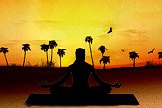 Bedros Awak Prints - Yoga At Sunrise Print by Bedros Awak