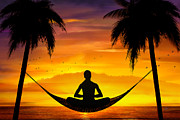 Bedros Awak Prints - Yoga At Sunset Print by Bedros Awak