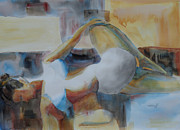 Yoga Pose Paintings - Yoga Bent Over Knee Twist by Robert P Hedden