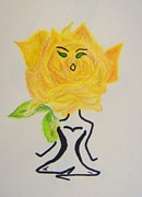 Funny Women Mixed Media - Yoga Flower Women by Janice W Deetscreek