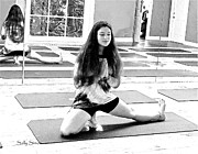 Yoga Images Prints - Yoga Pose 6 Black And White Print by Sally Simon