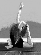 Yoga Images Prints - Yoga Study 3 In Black And White Print by Sally Simon