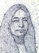 Writer Drawings Prints - YOGANANDA - pen portrait Print by Fabrizio Cassetta