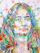 Indian Guru Framed Prints - YOGANANDA - watercolor portrait Framed Print by Fabrizio Cassetta