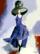 Digital Paintings - Yohji Yamamoto Fashion Illustration Art Print by Beverly Brown Prints