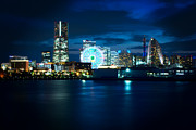 Buildings By The Sea Photo Prints - Yokohama Minatomirai at Night Print by Beverly Claire Kaiya