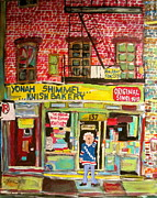 Hockey Sweater Paintings - Yonahs Knish Bakery by Michael Litvack