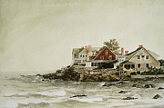 Maine Shore Painting Prints - York Beach Print by Monte Toon