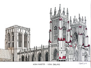 Pen And Ink Framed Prints Art - York Minster by Frederic Kohli