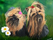 Yorkie Prints - Yorkie Friends Print by Debbie LaFrance