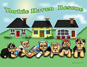 Puppies Mixed Media - Yorkie Haven Rescue by Catia Cho