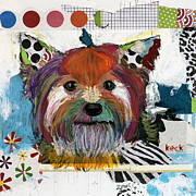 Dog Abstract Art Print Framed Prints - Yorkshire Terrier Framed Print by Michel  Keck