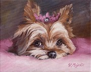 Paws Painting Originals - Yorkshire Terrier Princess in Pink by Viktoria K Majestic