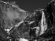 Bill Gallagher Posters - Yosemite Falls in Black and White Poster by Bill Gallagher