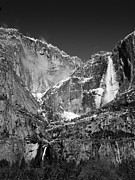 Bill Gallagher Photo Framed Prints - Yosemite Falls in Black and White II Framed Print by Bill Gallagher
