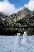 Yosemite Falls Snowmen Print by Patricia Sanders