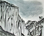 Original Etching Drawings Prints - Yosemite in Charcoal Print by Janice Rae Pariza
