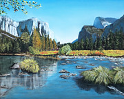 Greeting Card Pastels Originals - Yosemite Landscape by Sarah Dowson