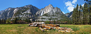 Half Dome Posters - Yosemite Meadow panorama Poster by Jane Rix