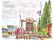 Urban  Drawings Paintings - Yosemite National Park CA-Tioga Pass Entrance by Carlos G Groppa